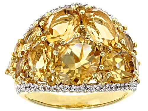 Photo of 6.35CTW OVAL AND ROUND BRAZILIAN CITRINE WITH .32CTW WHITE ZIRCON 18K YELLOW GOLD OVER SILVER RING - Size 7