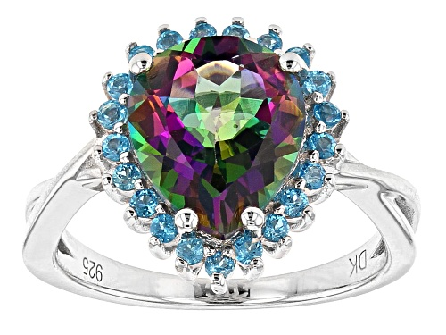 Photo of 3.40ct Pear Shape Mystic Fire® Green Topaz & .32ctw Round Neon Apatite Rhodium Over Silver Ring - Size 8