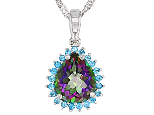 Photo of 3.05ct Mystic Fire® Green Topaz And .29ctw Neon Apatite Rhodium Over Silver Pendant With Chain