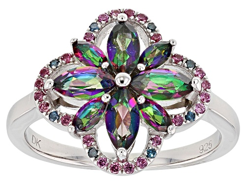 Photo of 1.52ctw Mystic Fire(R) Green Topaz, Rhodolite & Blue Diamond Accent Rhodium Over Silver Ring - Size 8