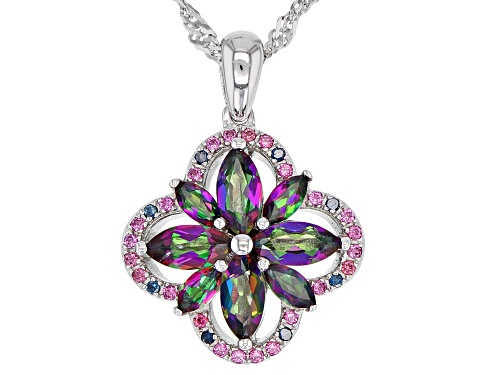 Photo of 1.52ctw Mystic Fire(R) Topaz, Rhodolite & Blue Diamond Accent Rhodium Over Silver Pendant W/Chain