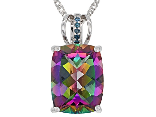 Photo of 9.30ctw Mystic Fire(R) Green Topaz & Blue  Diamond Accent Rhodium Over Silver Pendant W/Chain