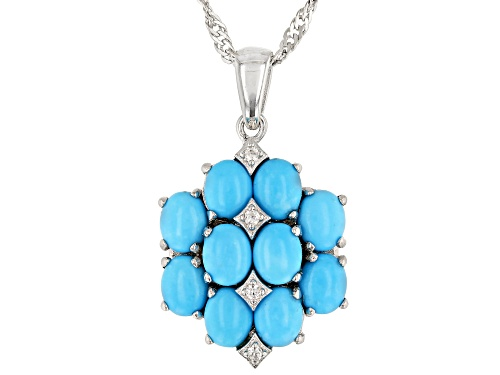 5x4mm Oval Sleeping Beauty Turquoise & .06ctw White Zircon Rhodium Over Silver Pendant Wi/Chain