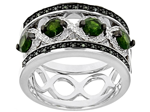 Photo of 1.40ctw Chrome Diopside, .09ctw Green & .02ctw White Diamond Accents Rhodium Over Silver 3-Ring Set - Size 6