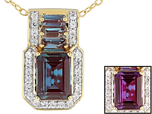 Photo of 2.13ctw Lab Created Alexandrite With .29ctw White Zircon 18k Gold Over Silver Pendant With Chain