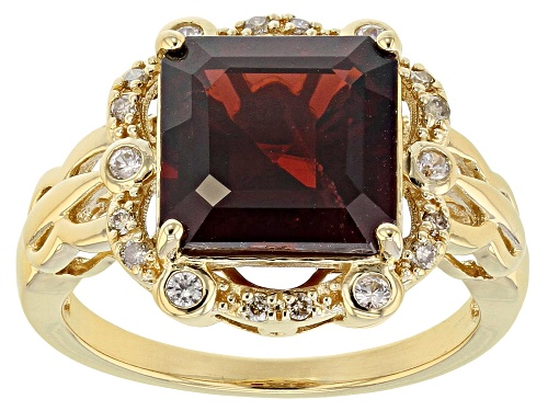 Photo of 4.85ctw Vermelho Garnet™, White Zircon & Champagne Diamond Accent 18k Gold Over Silver Ring - Size 5