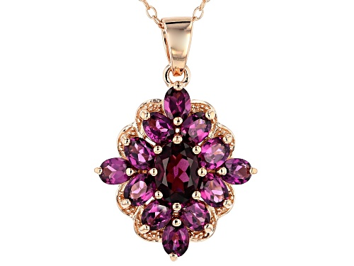 Photo of 2.65CTW OVAL RASPBERRY COLOR RHODOLITE 18K ROSE GOLD OVER STERLING SILVER PENDANT WITH CHAIN