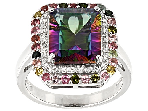 Photo of 4.83ct Mystic Fire® Green Topaz, .39ctw Multi-Tourmaline & Diamond Accent Rhodium Over Silver Ring - Size 8