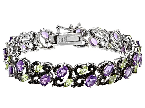 Photo of 6.65ctw Amethyst, 2.85ctw Manchurian Peridot™ & 2.05ctw Black Spinel Rhodium Over Silver Bracelet - Size 8
