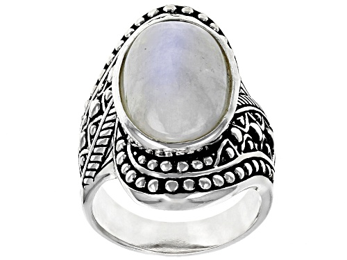 Photo of 18X11MM OVAL CABOCHON RAINBOW MOONSTONE SOLITAIRE RHODIUM OVER STERLING SILVER RING - Size 6