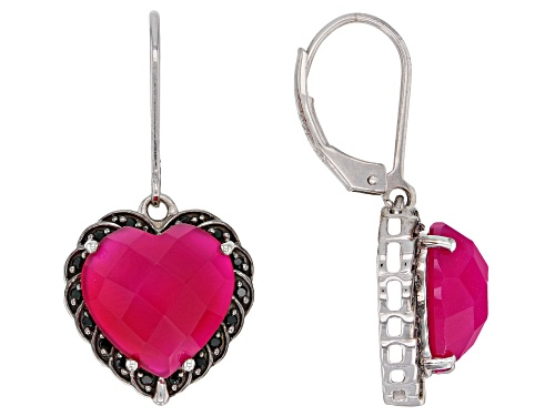 Photo of 12mm Heart Shape Pink Onyx with .20ctw Black Spinel Rhodium Over Silver Dangle Earrings