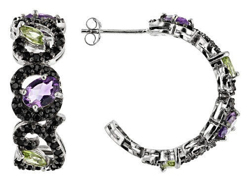 Photo of 1.40ctw Amethyst, .60ctw Manchurian Peridot™ & 1.16ctw Black Spinel Rhodium Over Silver Earrings