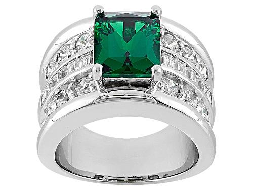 Photo of Jose Hess ™ For Bella Luce ® 5.73ctw Emerald Simulant & Dia Simulant Rhodium Over Silver Ring - Size 6