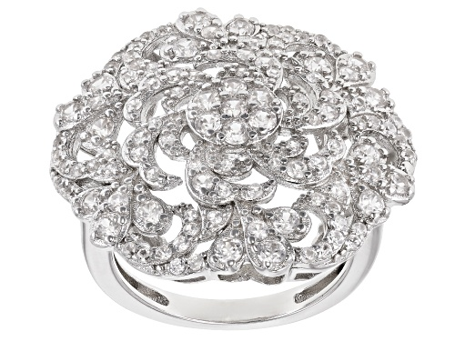 Photo of 2.10ctw Round White Zircon Rhodium Over Sterling Silver Medallion Ring - Size 8