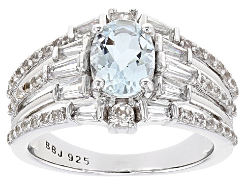 Photo of .85ct Aquamarine with .99ctw White Topaz and .46ctw White Zircon Rhodium Over Silver Ring - Size 7