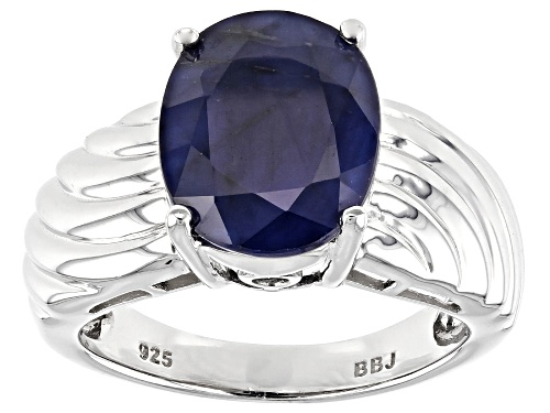 Photo of 4.84ct Oval Blue Sapphire Rhodium Over Sterling Silver Solitaire ring - Size 7