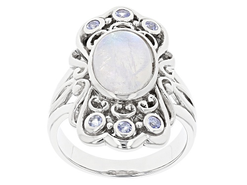 Photo of 12x8mm Oval Rainbow Moonstone and .20ctw Tanzanite Rhodium Over Sterling Silver Ring - Size 7
