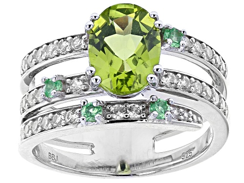 Photo of 1.70ct Oval peridot with .14ctw Tsavorite and .43ctw zircon rhodium over sterling silver ring - Size 8