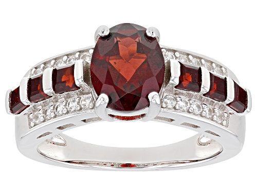 Photo of 2.21ctw mixed shape Red Vermelho Garnet™ with 0.15ctw white zircon rhodium over sterling ring - Size 8
