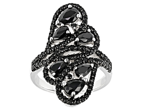 Photo of 1.45ctw Pear shaped and 1.04ctw round black spinel rhodium over sterling silver ring - Size 7