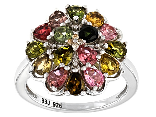Photo of 1.87ctw Multi-Tourmaline With  0.02ctw Champagne Diamond Accent Rhodium Over Sterling Silver Ring - Size 8