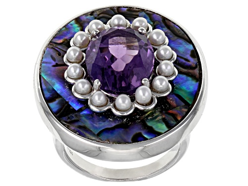 Photo of 4.89ct Brazilian Amethyst, Abalone Shell And Cultured Freshwater Pearl Rhodium Over Silver Ring - Size 7