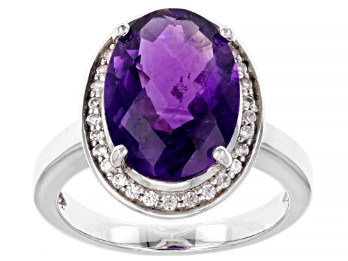 Photo of 4.90ct Oval Checkerboard Cut African Amethyst and .30ctw Zircon Rhodium Over Silver Halo Ring - Size 8