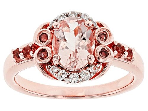 Photo of .89ct Oval Morganite, .45ctw Andalusite and Zircon 18k Rose Gold Over Silver Ring - Size 8