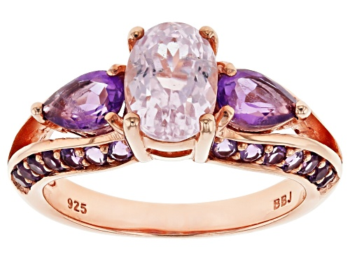Photo of 1.40ct Oval Kunzite with 1.04ctw African Amethyst 18k Rose Gold Over Sterling Silver Ring - Size 7