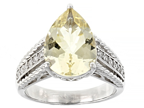 Photo of 3.94ct Pear Shape Yellow Labradorite and .22ctw Round White Zircon Rhodium Over Silver Ring - Size 8