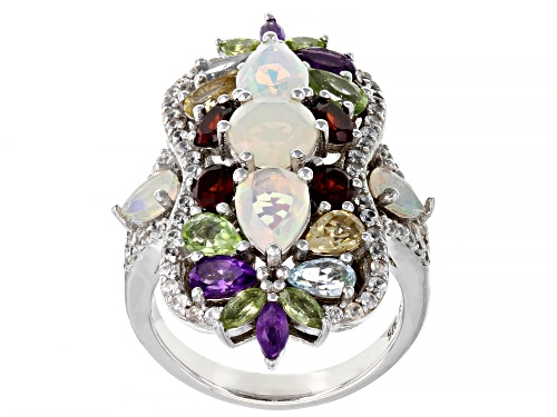 Photo of 1.19ctw Ethiopian Opal and 3.37ctw Multi-Gemstone Rhodium Over Sterling Silver Ring - Size 7