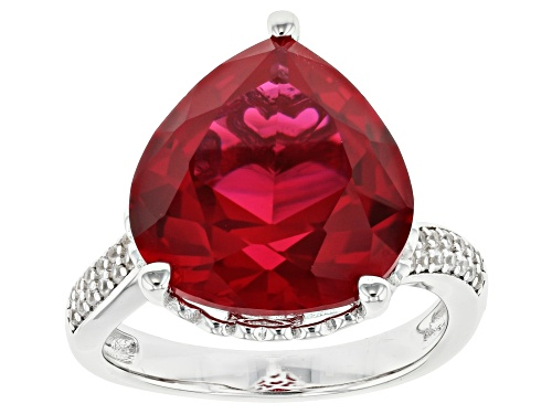Photo of 9.81ct Pear shaped lab created ruby with .23ctw round white zircon rhodium over sterling silver ring - Size 8