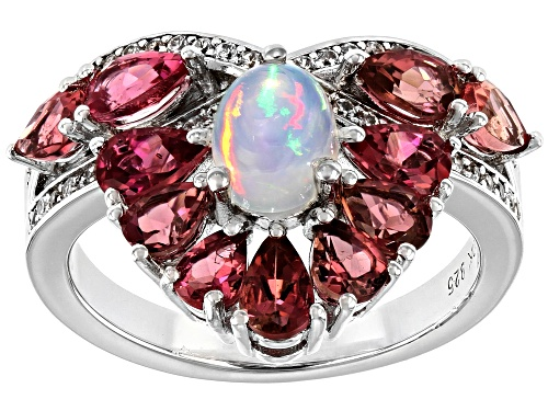 Photo of .40ct Oval Ethiopian Opal, 1.62ctw Pink Tourmaline and .31ctw Zircon Rhodium Over Silver Ring - Size 7