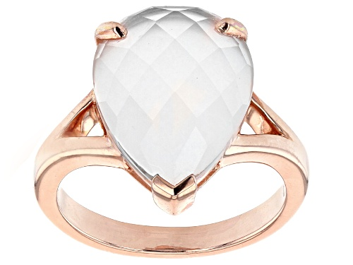 Photo of 16x12mm Checkerboard Cut Rose Quartz 18k Rose Gold Over Sterling Silver Solitaire Ring - Size 8