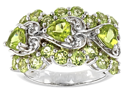 Photo of 3.25ctw Heart Shape and Round Manchurian Peridot™ Rhodium Over Sterling Silver Band Ring - Size 8