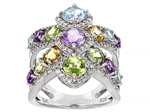 "Photo of 3.52ctw Cushion and Round Multi-Color Gemstone Rhodium Over Sterling Silver ""X"" Ring - Size 6"