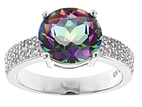 Photo of 2.98ct Round Multi-Color Quartz and 0.39ctw White Topaz Rhodium Over Silver Ring - Size 7