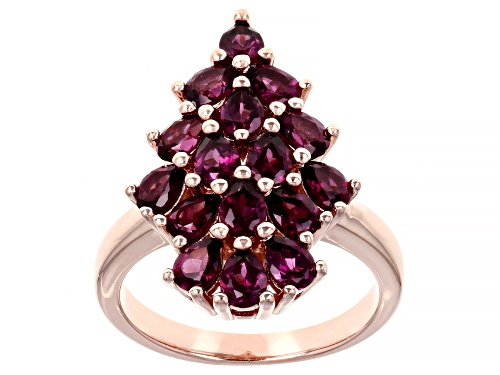 Photo of 2.40ctw Pear Shape Raspberry Color Rhodolite 18k Rose Gold Over Silver Ring - Size 8