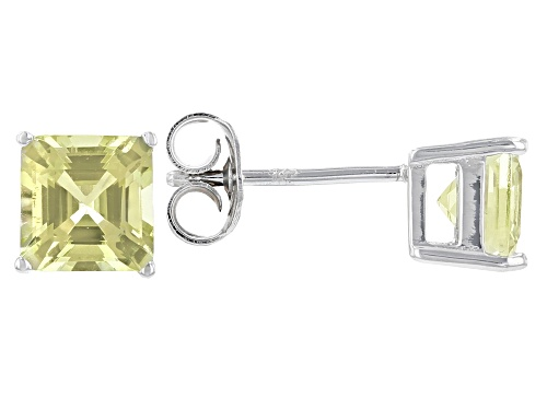 Photo of 2.18ct Asscher Cut Yellow Apatite Rhodium Over Silver Stud Earrings