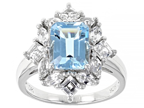 Photo of 2.30ct Emerald Cut Glacier Topaz™ and 1.29ctw White Topaz Rhodium Over Sterling Silver Ring - Size 8