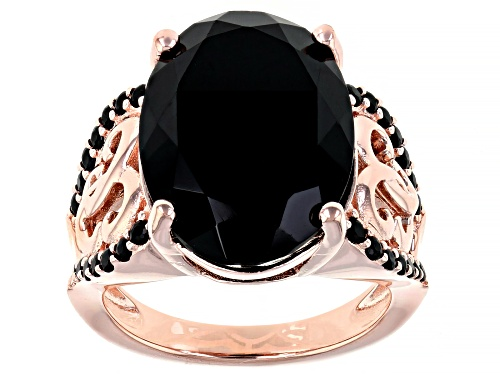 Photo of 14.02CT OVAL,.48CTW ROUND BLACK SPINEL 18K ROSE GOLD OVER STERLING SILVER RING - Size 8