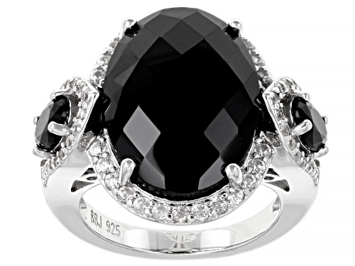 Photo of 14.91CTW BLACK SPINEL WITH 1.09CTW WHITE ZIRCON RHODIUM OVER STERLING SILVER RING - Size 7