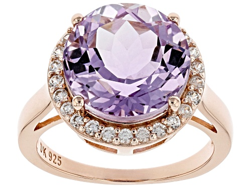 Photo of 5.27ct Lavender Amethyst With 0.64ctw White Zircon 18K Rose Gold Over Silver Ring - Size 8