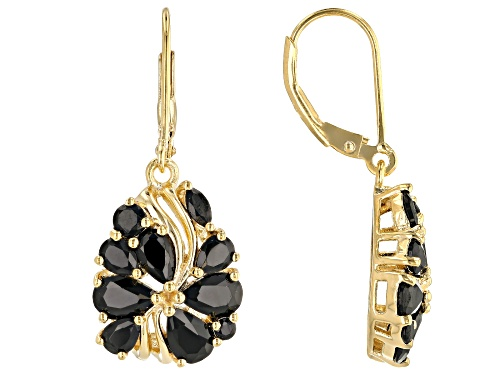4.41ctw Mixed Shapes Black Spinel 18K Yellow Gold Over Sterling Silver Dangle Earrings
