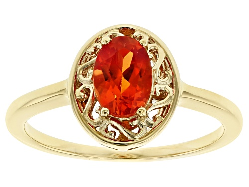Photo of .94ct Oval Lab Created Sunset Sapphire 18k Yellow Gold Over Sterling Silver Solitaire Ring - Size 8