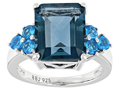 Photo of 6.18ct Emerald Cut Teal Fluorite and .62ctw Neon Apatite Rhodium Over Sterling Silver Ring - Size 10