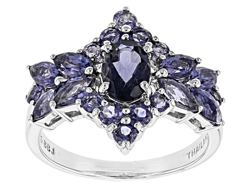 Photo of 1.71ctw Oval, Marquise, And Round Iolite Rhodium Over Sterling Silver Cluster Ring - Size 8