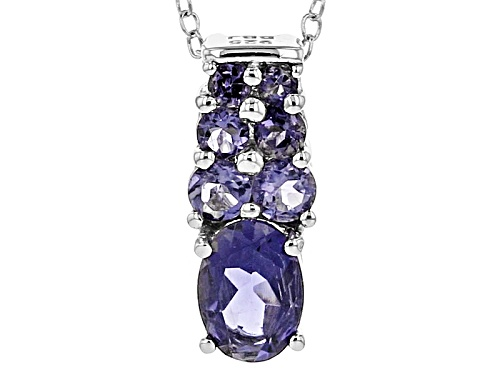 Photo of .84ctw Oval And Round Iolite Sterling Silver Pendant With Chain