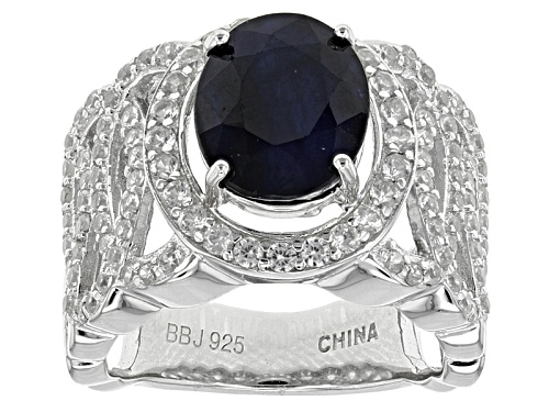 Photo of 3.74ct Oval Blue Sapphire With 1.01ctw Mixed Round White Zircon Sterling Silver Ring - Size 5