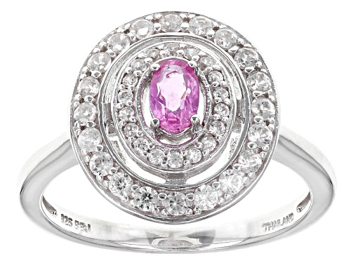 Photo of .25ct Oval Pink Sapphire With .49ctw Round White Zircon Sterling Silver Ring - Size 8